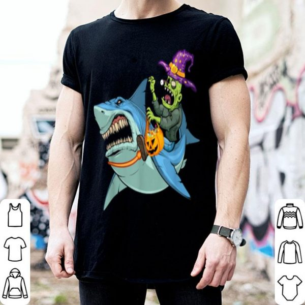 Funny Zombie Corgi Riding Shark-Zombie Halloween Costume T-Shirt shirt