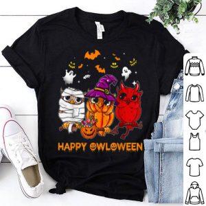 Hot Happy Owloween Halloween Owl Pumpkin Wicth shirt