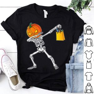 Original Funny Halloween For Boys Kids Dabbing Skeleton Pumpkin shirt