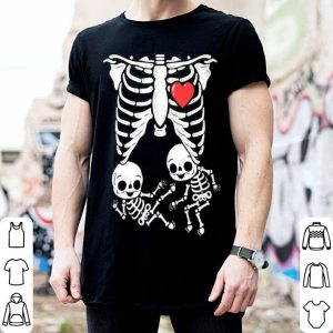 Awesome Skeleton Pregnancy Announcement Twins Xray Halloween shirt