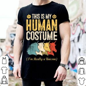 Awesome This Is My Human Costume I'm Really A Unicorn Halloween Gift shirt