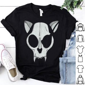 Beautiful Cat Skull With Pirate Patch Halloween Skeleton Drawing shirt