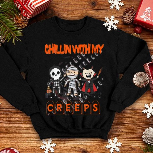 Beautiful Chillin' With My Creeps Vampire Halloween Skeleton Witch shirt