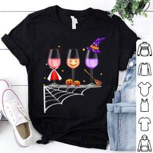 Funny Glasses Of Wine Halloween Costume Dracula Pumpkin shirt