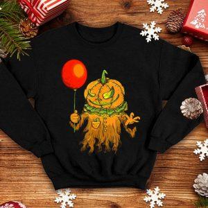 Horor Clown With Pumpkin Head Handing Red Balloon Halloween shirt