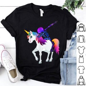 Kids Colorful Space Skeleton Riding Unicorn Halloween shirt