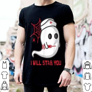 Premium Nurse Spooky Ghost I will stab you Funny Nursing Halloween shirt