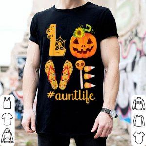 Premium Sunflower Pumpkin Candy Flip Flop LOVE Aunt Life shirt
