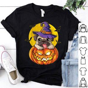 Top Pug Witch Pumpkin Halloween Gifts Women Pugkin Dog Lover shirt