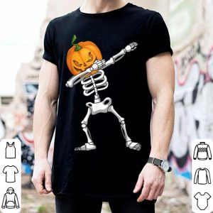 Beautiful Dabbing Skeleton Pumpkin Head Funny Scary Halloween Dab Kids shirt
