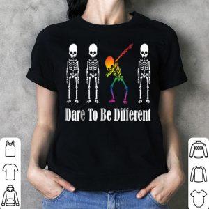 Beautiful LGBT Dabbing Skeleton Halloween Dare To Be Yourself shirt