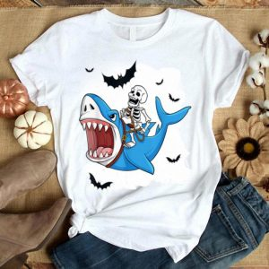 Funny Skeleton Riding Shark Funny Halloween Gift shirt