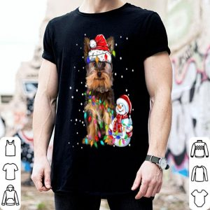 Hot Yorkshire Terrier Christmas Santa Hat Xmas Lights Yorkie Dog shirt