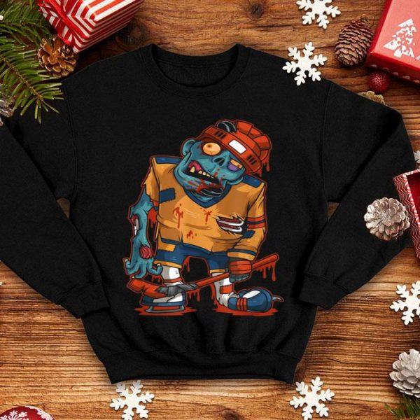 Hot Zombie Ice Hockey Player Halloween Trick or Treating Gift shirt