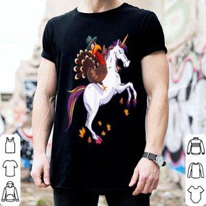 Nice Funny Thanksgiving Turkey Riding Unicorn shirt