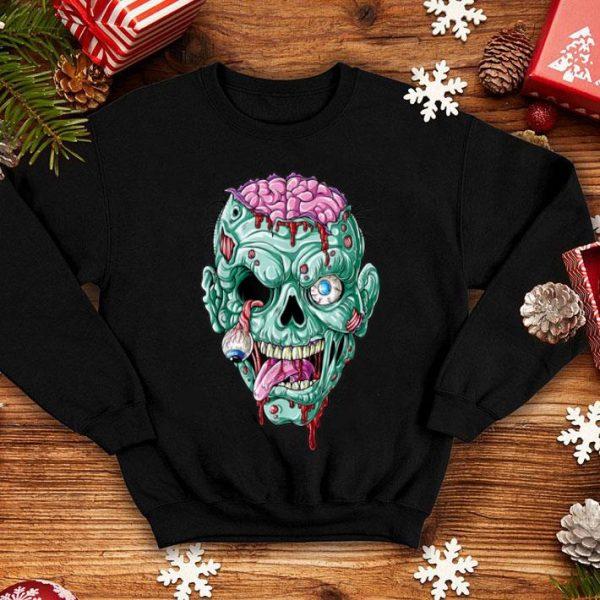 Nice Zombie Face Brain Funny Halloween Gifts Men Women Zombies shirt