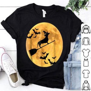 Official Dachshund Witch Dog Halloween Moon Broomstick Broom shirt