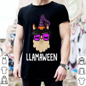 Original Halloween LLama Witch LLamaween Bat Glasses shirt