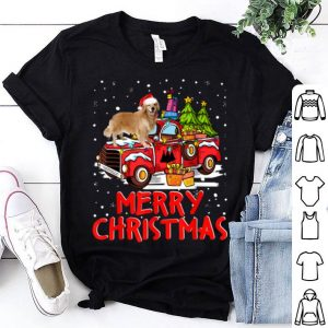 Premium Labrador Retriever Rides Red Truck Merry Christmas Pajama shirt