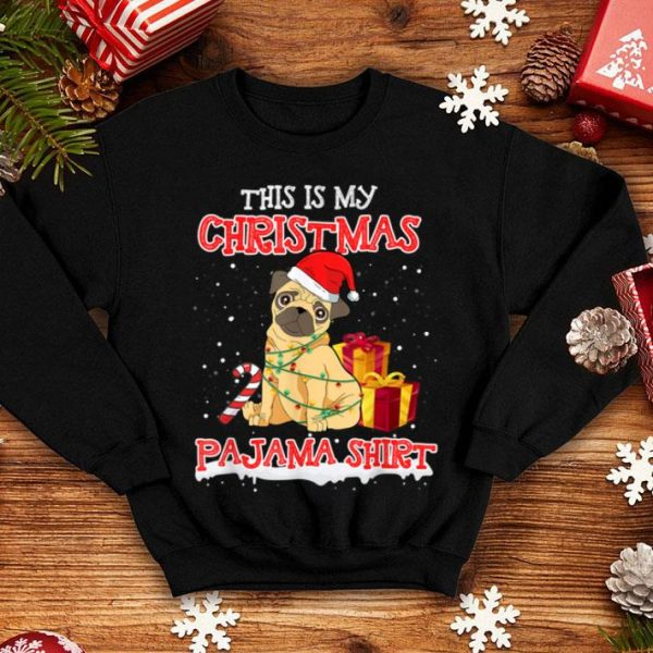 Awesome Cute Pug On Snow & Gilf This Is My Christmas Pajama Funny shirt