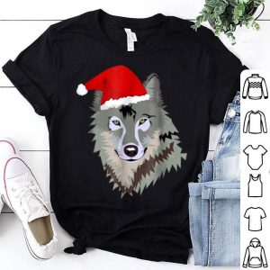 Awesome Grey Wolf Christmas Santa Hat Wolves Gift Kids shirt