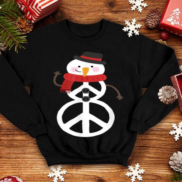 Awesome Peace Sign Hippie Snowman Christmas shirt