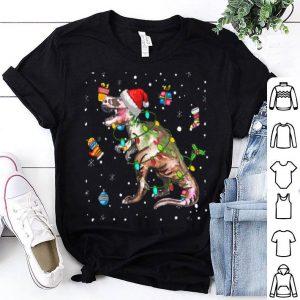 Awesome dinosaur Lights with Santa Hat Christmas Pajamas Funny Gifts shirt