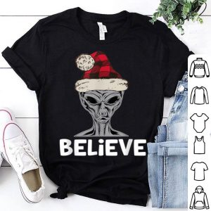 Beautiful Believe Christmas Alien Santa Hat Sci Fi Funny sweater