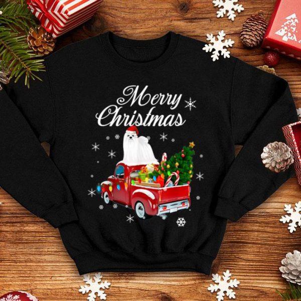 Beautiful Maltese Rides Red Truck Christmas Pajama Funny Gift shirt