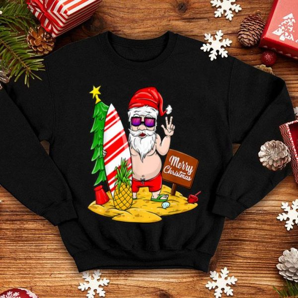Beautiful Xmas Fat Santa Beach Merry Christmas Funny Gift shirt
