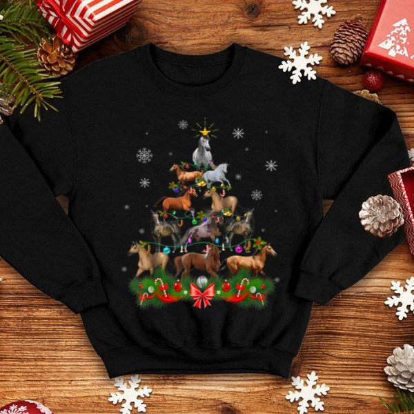Official Horse Christmas Tree Lights Funny Horse Xmas Gift shirt