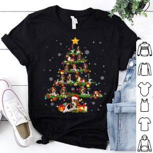 Premium Basset hound Tree Christmas santa Hat Paw up Star X-mas sweater