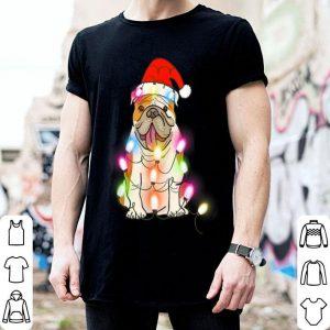 Premium English Bulldog Santa Hat Christmas Lights Funny Xmas Gift shirt
