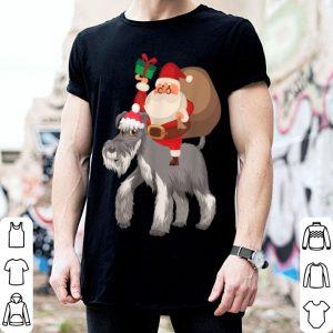 Premium Santa Riding Miniature Schnauzer Christmas Pajama Gift shirt