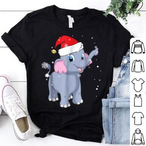 Pretty Christmas Elephant Cute Elephant Santa Hat Gift Tees shirt