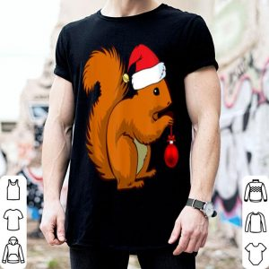 Pretty Funny Squirrel Christmas Santa Hat Animal Gift Kids shirt