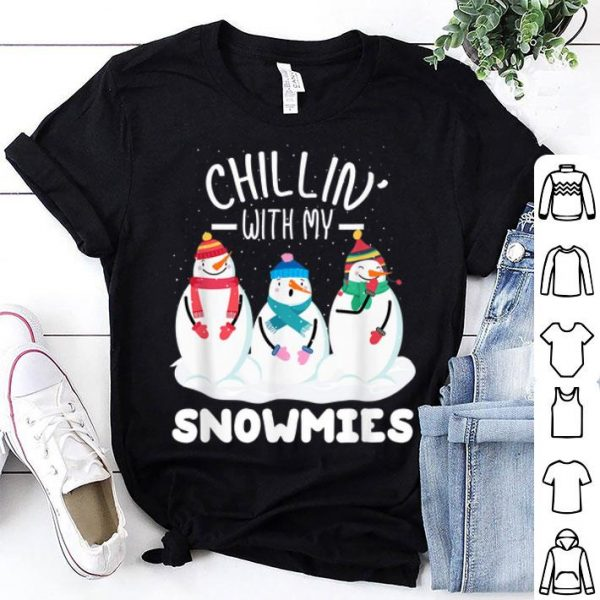 Pretty chillin with my snowmies funny christmas pajamas Xmas gifts shirt