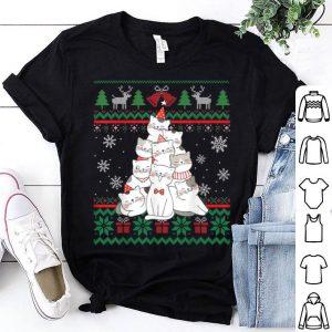 Top Funny Cute Cat christmas tree Ugly Christmas Pajamas shirt