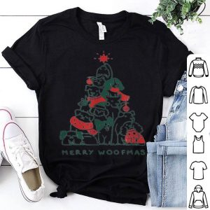 Top Merry Woofmas Funny Dogs Christmas Tree Xmas Gift shirt