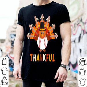 Top Turkey With Baseball Thankful Thanksgiving Christmas Gift shirt