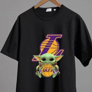 Hot Star Wars Baby Yoda Hug Los Angeles Lakers shirt