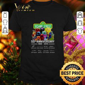 Nice 123 Sesame Street 50th anniversary 1969 2019 signatures Muppet shirt