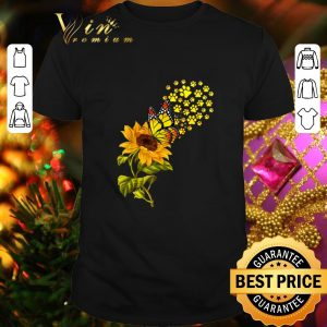 Nice Dog Paw Sunflower And Butterfly shirt