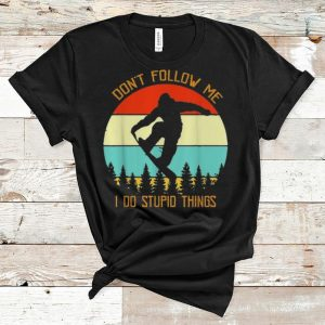 Official Vintage Bigfoot Don't Follow Me I Do Stupid Things Snowboarding shirt