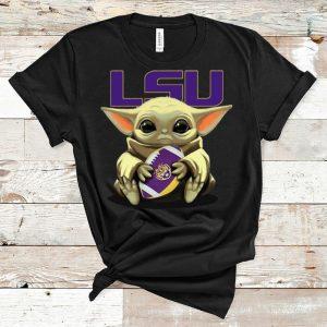 Premium Star Wars Football Baby Yoda Hug LSU Tigers shirt