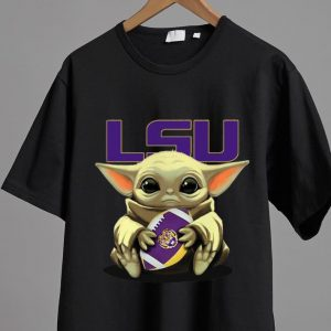 Premium Star Wars Football Baby Yoda Hug LSU Tigers shirt 1