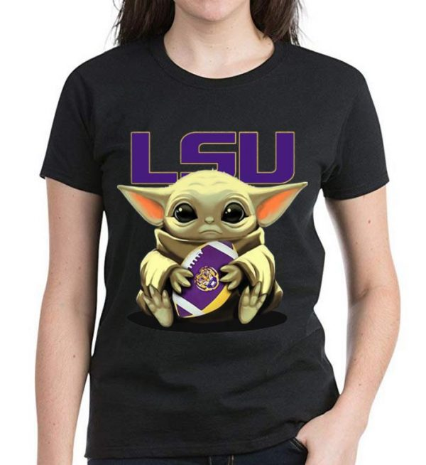 Premium Star Wars Football Baby Yoda Hug LSU Tigers shirt