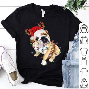 Pretty English Bulldog Santa Hat Reindeer Christmas Lights Xmas sweater