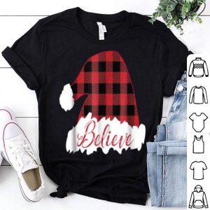 Top Believe Christmas Santa Hat Buffalo Plaid Style sweater