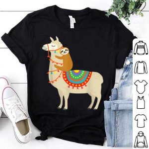 Top Sloth Riding Llama Christmas Alpaca Gift Idea 2019 sweater
